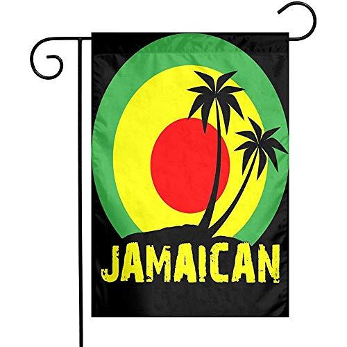 Kokospalme Reggae Farbe Jamaican Outdoor Flagge Polyester Faltenresistenz Garten Fahnen Verblassen Beständige Dekorative Flagge Durable Willkommensflagge für Yard Lawn Dorms College Parties M