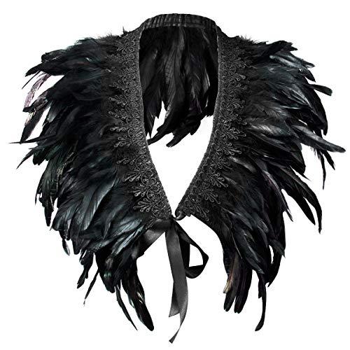 ANSUG Federschal, Gothic Feder Cape Kragen Fashion Achselzucken Schal Federgürtel für Karneval Halloween Retro Party Bühnen Maskerade