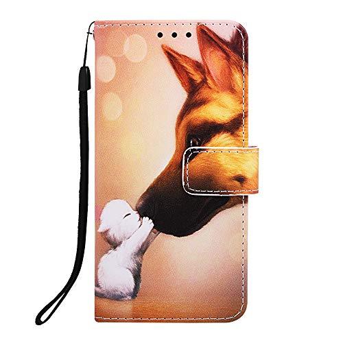 Lederhülle für Samsung Galaxy A21S Hülle Leder Handyhülle Flip Case PU Tasche Wallet Schutzhülle Bookstyle Ständer Kartensätze Magnetisch Handytasche für Samsung Galaxy A21S Handy Hülle Hundeküssen