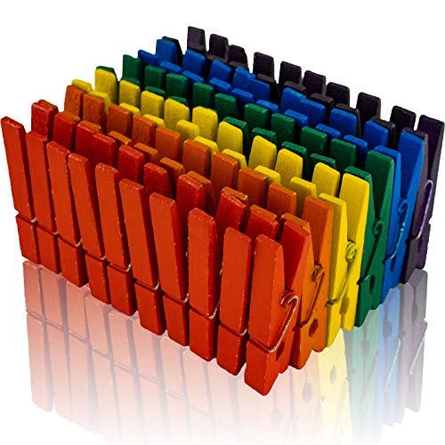 Holz Wäscheklammern A00154125 Birkenholz, bunt Sortiert, 45 mm, 100 Stück