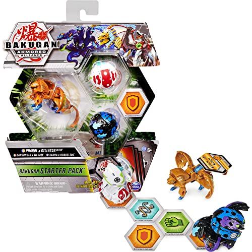 Bakugan Starter Pack 3-Pack, Fused Pharol x Gillator Ultra, Armored Alliance Collectible Action Figures