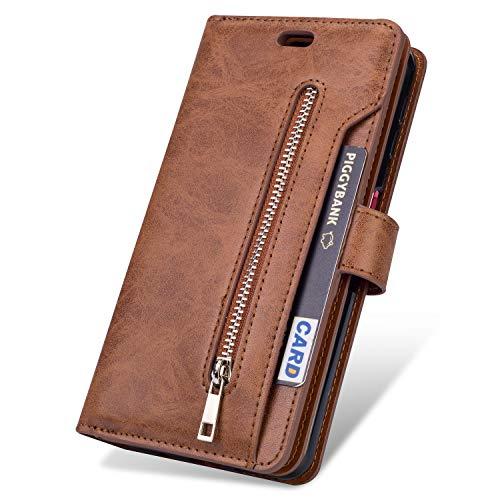 JAWSEU Compatible avec Samsung Galaxy J6 2018 Coque Portefeuille PU Étui Cuir à Rabat Magnétique avec Fonction Stand et Fentes pour cartes Fermeture éclair Leather Flip Wallet Case pour Homme Femme