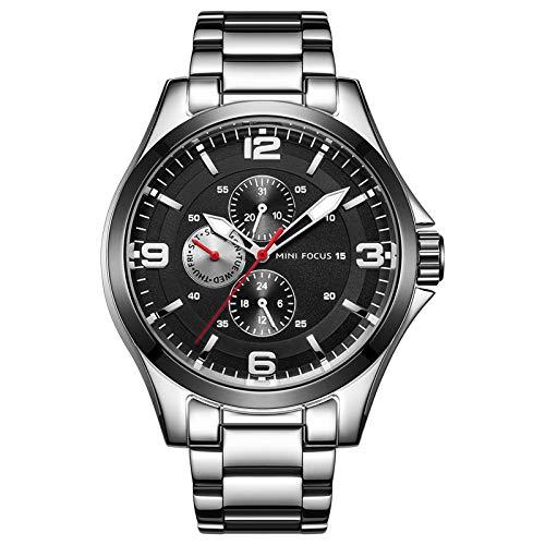 QZPM Reloj De Cuarzo para Hombre Manos Luminosas Multifunción Impermeable Analógico Calendario Correa En Acero Inoxidable Negocio Relojes,Negro