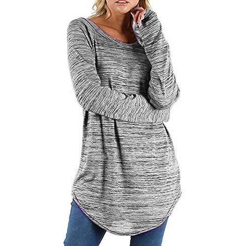 Xmiral Damen Pullover Tops Weiß Nadelstreifen Langarmhemd Plus Größe Oansatz Lange Bluse(L,Grau)