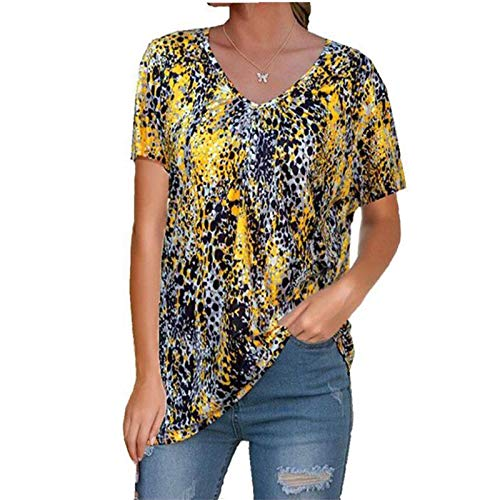 SLYZ Camiseta De Verano para Mujer Camiseta Holgada De Gran Tamaño con Estampado Europeo Y Americano con Cuello En V Camiseta De Manga Corta para Mujer
