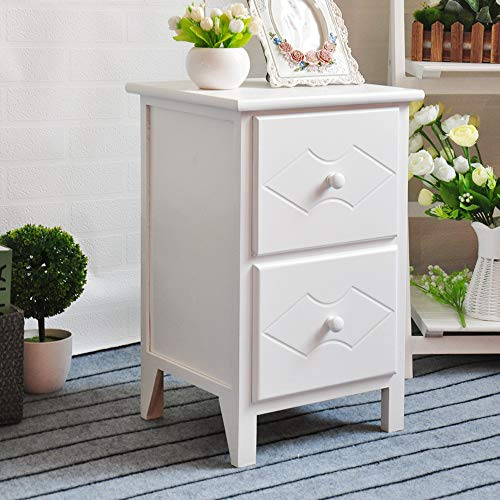 EXQUI Wooden Cabinet of 2 Drawers White Bedside Drawers Night Stand for Bedroom Chest of Drawers Floor Standing Cabinet for Living Room Wooden Cabinet of Drawers Fully Assembled, 32x30x52cm, G962-2W