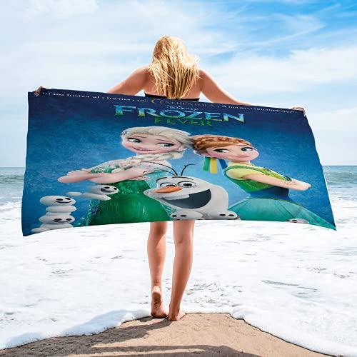 HANGYUN Frozen - Toalla de playa con 2 temas de Frozen, toalla de baño con estampado de princesa Anna y Elsa, 100% microfibra, toalla de playa para niña, multicolor (A1,80 x 160 cm)