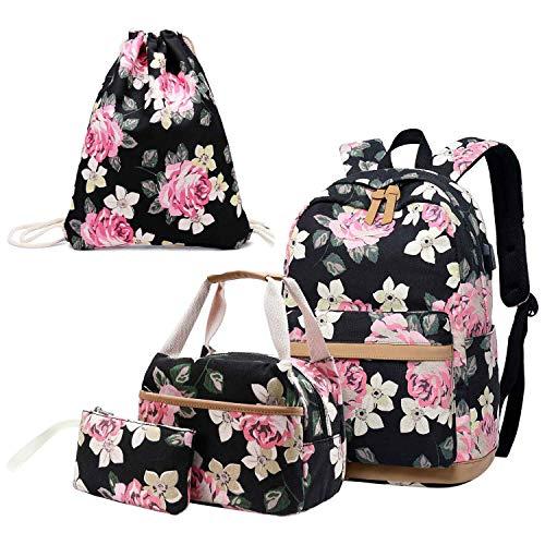Neuleben 4 Set Schulrucksack & Kühltasche & Turnbeutel & Geldbörse Rucksack Schulranzen mit USB Ladeanschluss Blumenmuster Schultaschen für Damen Mädchen (Schwarz)