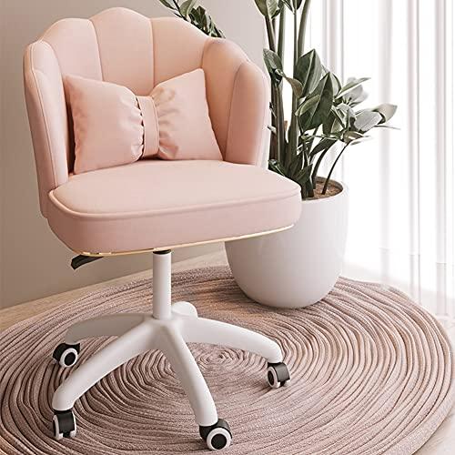 ZWQASP Silla de Escritorio Giratoria Moderna en Forma de pétalo, sillón de salón para computadora con Respaldo Medio con pies de Nailon, sillón de Maquillaje tapizado cómodo de elevación ergonómico