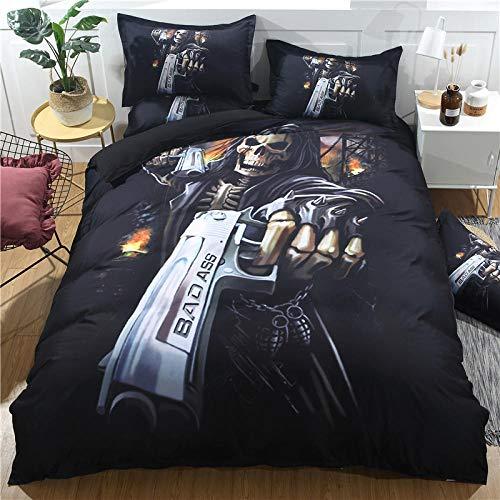Gvvaceo Duvet Cover Sets Super kingsize sets 260 x 230 cm Comfortable Fabrics 100% Polyester Super Soft Breathable Anti-Allergic with 1 Pillow Covers,Bedding 3D Print Cartoon halloween skull christ