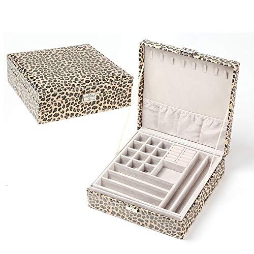 Preisvergleich Produktbild MU Haushalt tragbare aufbewahrungsbox massivholz schmuckschatulle / 2 Schichten schmuck Armband Ring Halskette täglichen bedarfs, B, 26 * 26 * 9CM
