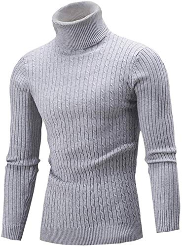 Belovecol Herren Rollkragenpullover Warme Rollkragen Langarm Strickpullover Turtleneck Pullover Feinstrick Sweater Grau L