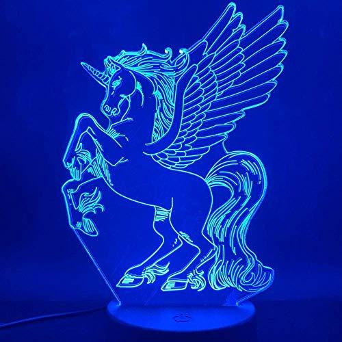3D Illusionslampe LED Nachtlicht Einhorn fliegendes Pferd Pegasus Bestes Geschenk für Kinder Direktversorgung Glowing Base USB Laser