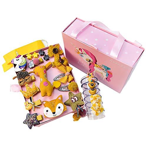 Haarspangen Set Mädchen, ZoneYan Haarspangen Baby Mädchen, 24 Stück Baby Haarklammer Mädchen, Gelb Baby Haarschmuck