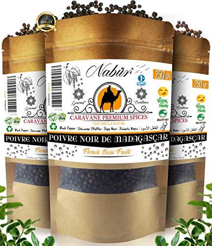 Pepe Nero Grani di Madagascar 205 Gr ⭐ NABÜR GOURMET ⭐ Ricco, coltivato lontano da monocolture intensive ❤️ Borsa richiudibile