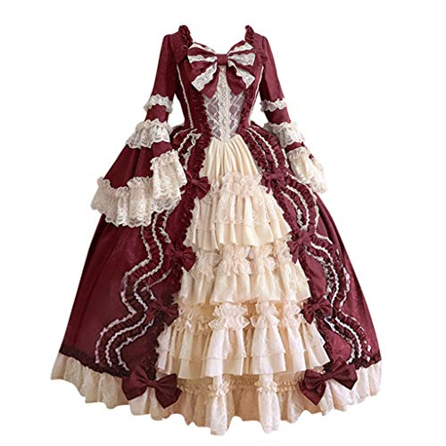F_Gotal Womens Renaissance Medieval Costume Dress Masquerade Vintage Gothic Floor Length Long Dress Cosplay Retro Gown Red