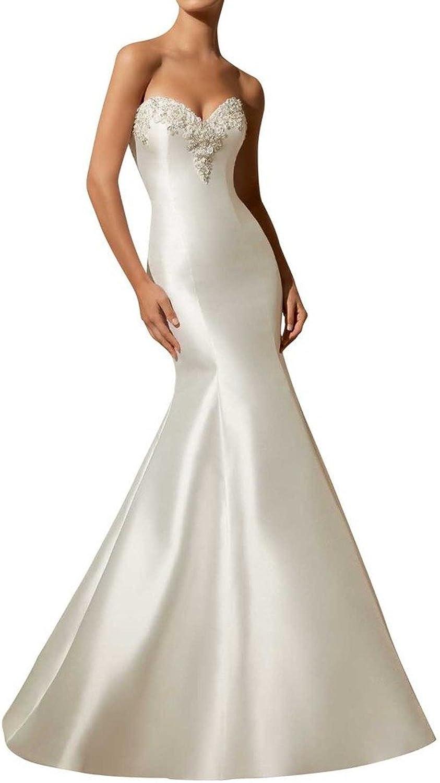 Angel Bride Grace Open Back Mermaid Wedding Bridal Dress with Sweep Train
