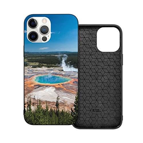VEELFF Carcasa compatible con iPhone 12 Pro de 6.1 pulgadas, diseño de piscina de zafiro de Yellowstone delgado a prueba de golpes TPU suave silicona cubierta de teléfono
