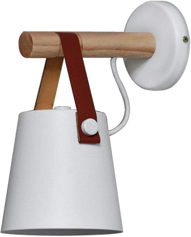 HDZWW Kreative Moderne Einfache E27 Wandleuchte Lampe Holz Eisen Wandleuchte für Schlafzimmer Nacht Wohnzimmer Loft Flur Foyer Balkon Treppe Arbeitszimmer Kunst Beleuchtung (Farbe   Weiß)