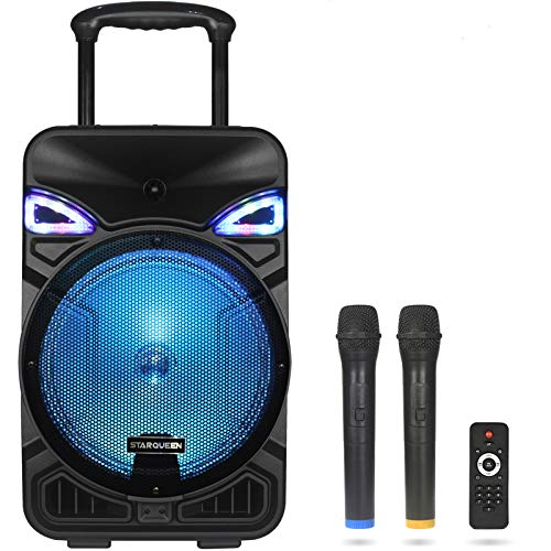 STARQUEEN Bluetooth Karaoke Speaker for Adults Karaoke Machine with 12 Inch Woofer Portable Pa Speaker 2 Wireless Microphone/Mic Priority/AUX Perfect for Home Party Wedding Speech Outdoor Activities