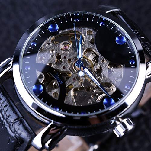 UNJ Reloj de Pulsera mecánico automático para Hombre con Esfera Azul Negra, Reloj de Pulsera para Hombre,UN