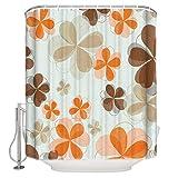 N / A Tenda da doccia in Tessuto con petali di Fiori Set arredo bagno Bianco Giallo con ganci