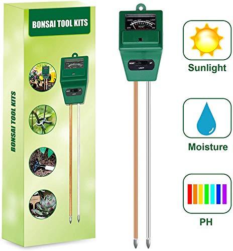 CT Kit di Test del Suolo con 15 Strumenti Bonsai - Sensore di umidità del Terreno 3 in 1 - Kit di Attrezzi da Giardinaggio con cesoie a Forbice, Mini rastrello, germoglio e falciatrice per Foglie