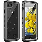 Huakay iPhone 7/8 Waterproof Case, iPhone SE 2020 Waterproof Case Full Body Shockproof Sandproof Dirtproof IP68 Underwater Outdoor Waterproof Case for iPhone 7/8/SE 2020(Black/Clear)