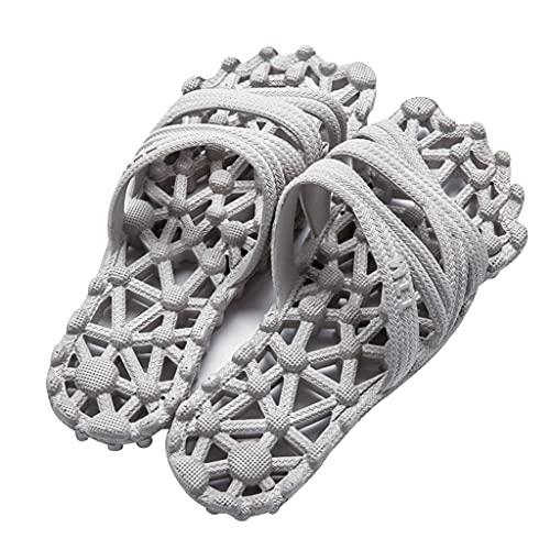 QUNHU Home Hollow - Sandalias y zapatillas para el hogar de verano para el baño, antideslizante, para el hogar, parte inferior suave, unisex, color gris, talla EU39-40