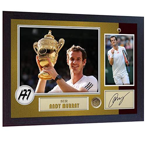 SGH SERVICES Poster, gerahmt, mit Autogramm von Andy Murray, Tennis-Fotodruck, vorgedruckt, gerahmt, MDF-Rahmen