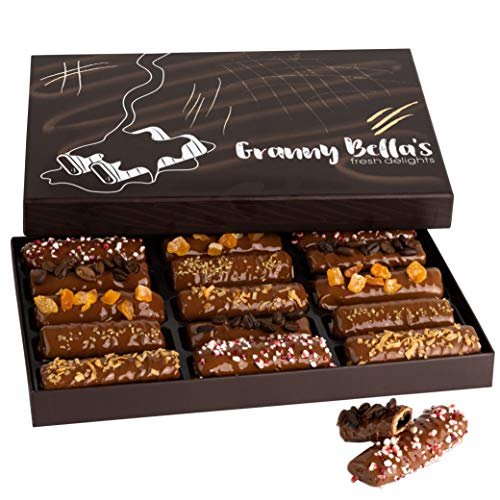 Granny Bella's Gourmet Chocolate Dipped Wafers | 15 Cookies Filled with Hazelnut Cream | Food...