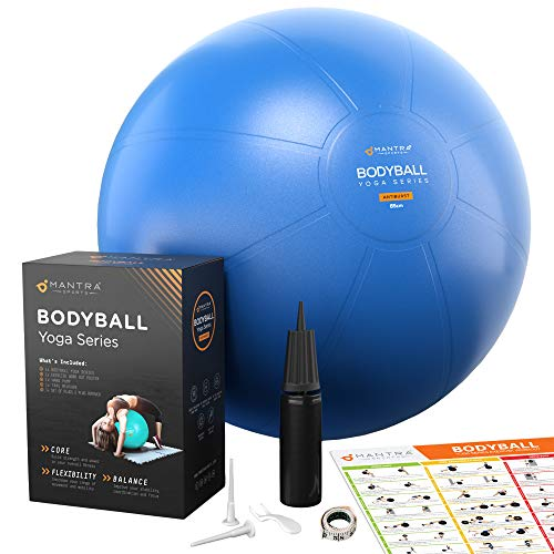 Exercise Ball | Stability Ball for Fitness, Yoga, Pilates, Pregnancy, Birthing or Office Desk Chair - 55cm / 65cm / 75cm Extra Thick, Anti-Burst & Non-Slip, Gym Quality Workout Ball - Pump & Guide