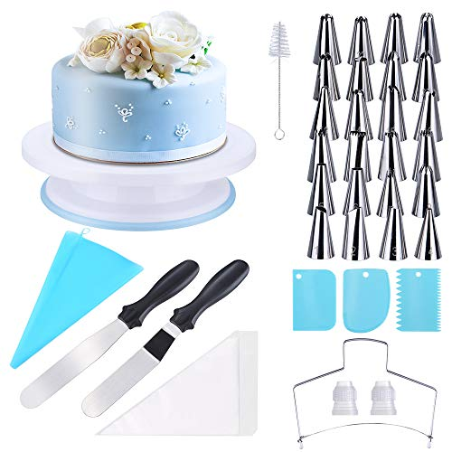 Ninonly Decorazione la Torta Kit 63pcs Utensili da Decorazione Sacca a Poche per Pasticceria Professionale, Piatto Girevole, taglierini per spatole, stampi in Silicone per Cupcake Compleanno