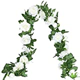 2 Pack White Rose Garland Flower Vines Silk Floral Garland Hanging Flowers for Wedding Arch Backdrop Garden Home Wall Decor