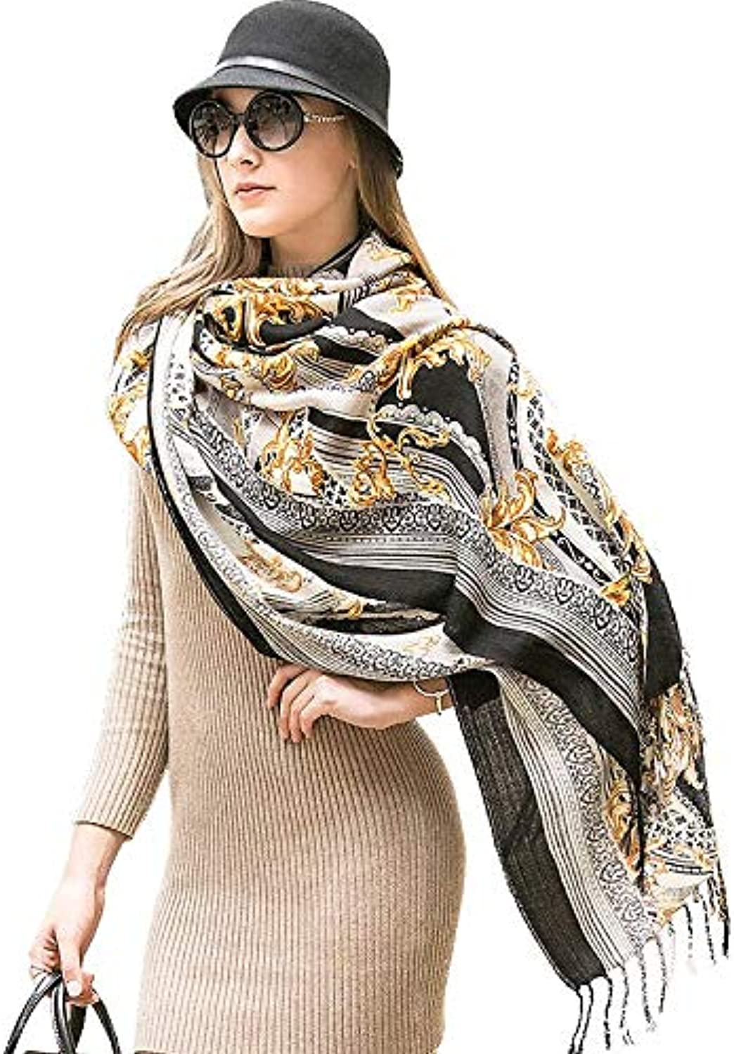 JINGB Home Super National Wind Shawl Long Dualuse Autumn and Winter Travel Cloak Shawl MultiFunction Scarf Female