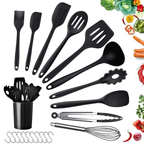 Teselife Lot de 10 ustensiles de Cuisine en Silicone de qualité supérieure résistant à la Chaleur avec spatule de Cuisson Anti-adhésif, spatule de Cuisson pour casseroles, louches, Tout Compris