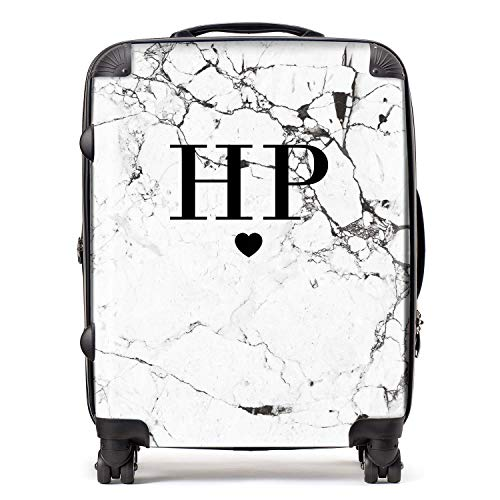 Personalised White & Black Marble Initials & Heart Monogram Suitcase with TSA Lock 4 Spinner Wheels Large Expandable Luggage 78cm 95Ltr