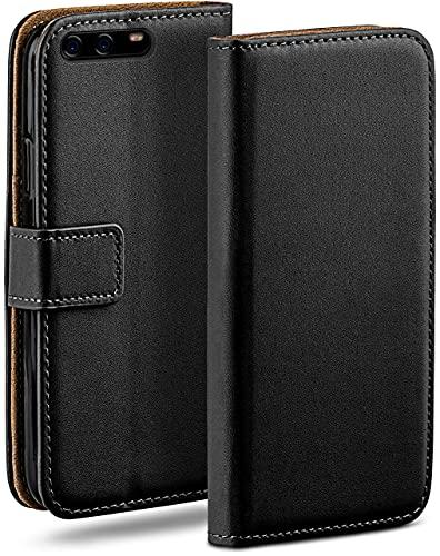 moex Klapphülle für Huawei P10 Plus Hülle klappbar, Handyhülle mit Kartenfach, 360 Grad Schutzhülle zum klappen, Flip Hülle Book Cover, Vegan Leder Handytasche, Schwarz