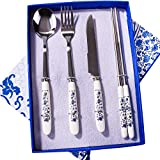 Travel Flatware -Stainless Steel Flatware Set Include Knife/Fork/Spoon/Chopsticks with Delicate Box, Chinese Blue and White Porcelain Tableware Set As a Good Gift