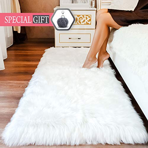 Premium Faux Sheepskin Fur Rug White - 2.3x5 feet - Best Extra Long Shag Pile Carpet for Bedroom Floor Sofa - Soft Fur Area Rug (2.3x5, White)