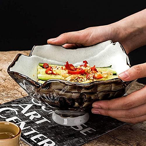 ZRB Juego de Platos, Cuenco de cerámica de Novedad de Alto pie 7', vajilla Japonesa Creativa, Ensalada de Frutas en casa, para Postre, Helado - Conjunto de 2 tazones
