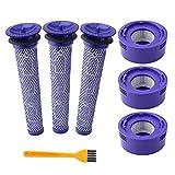 IUCVOXCVB Accesorios para aspiradora, paquete de 6 prefiltros y 2 paquetes de filtros HEPA de repuesto compatible con aspiradoras inalámbricas Dyson V8 y V7 (color 6 piezas)