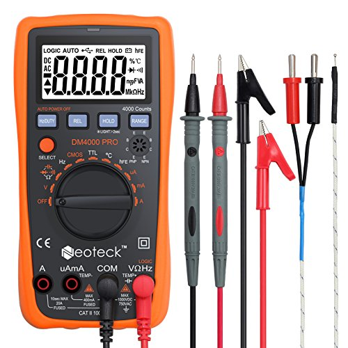 Neoteck Auto Ranging Digital Multimeter with Portable Case, 4000 Counts Volt Meter for AC/DC Volt Current Resistance Capacitance Frequency Temperature CMOS and TTL Duty Cycle Transistor Diode