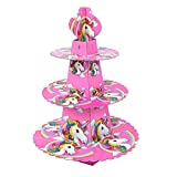 Partymane Unicorn Horse 3-Tier Treat Tree Cupcake Stand Paper Cake Carrier (Multicolour)