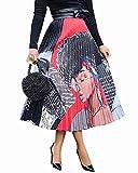 ThusFar Women's Graffiti Pleated Skirts Cartoon Letter Printed High Elastic Waist Casual A-Line Long Swing Midi Skirt Red Lady M