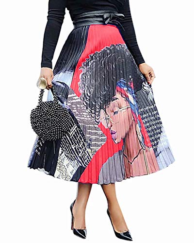 ThusFar Women's Graffiti Pleated Skirts Cartoon Letter Printed High Elastic Waist Casual A-Line Long Swing Midi Skirt Red Lady M