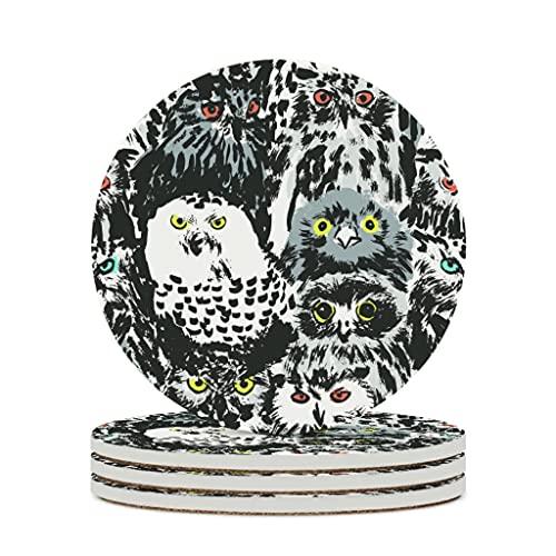 Juego de posavasos con diseño de búho, de cerámica, antideslizante, para bebidas, de piedra, para café, vajilla para el hogar, cocina, 6 piezas, color blanco