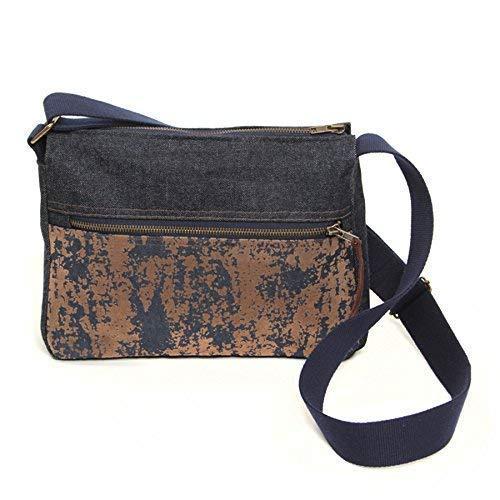 Bolso bandolera de tela para mujer, bolso de hombro vaquero con asa de lona ajustable, bandolera con cremallera, bandolera con múltiples bolsillos, bolso casual, Azul y Marrón