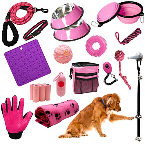 Setonware 23pc Girl Puppy Starter Kit - Puppy Supplies, Accessories, & Essentials. New Puppy Kit has Feeding Bowls, Training Aids, Leash, Collar, Toys, Potty Training Bells & More for New Puppies