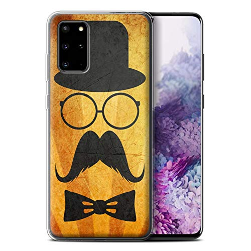 Stuff4 Telefoonhoesje voor Samsung Galaxy S20 Plus Retro Moustache Stuur/Bril Ontwerp Transparant Helder Ultra Zachte Flexi Siliconen Gel/TPU Bumper Cover